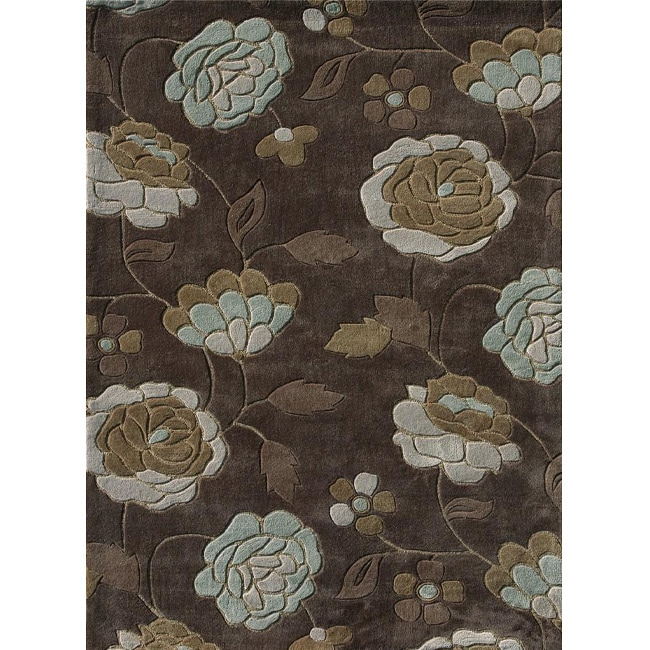 Hand-tufted Chalice Brown/ Aqua Floral Rug (3'6 X 5'6