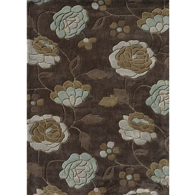 Hand-tufted Chalice Brown/ Aqua Floral Rug (5' x 7'6)