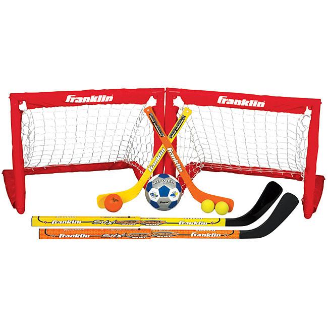 Franklin Sports 3-in-1 Indoor Sport Set, Floor Hockey, Soccer and Knee Hockey