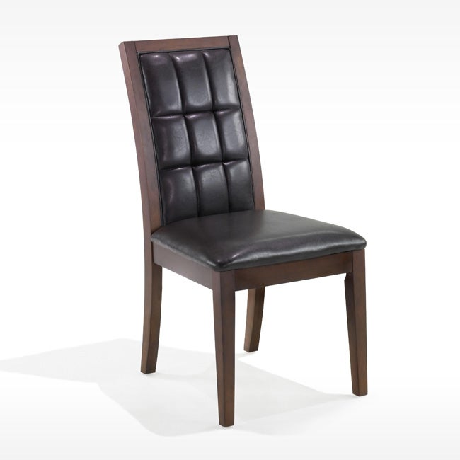 Leather Biscuit-back Dining Chairs (Set of 2)