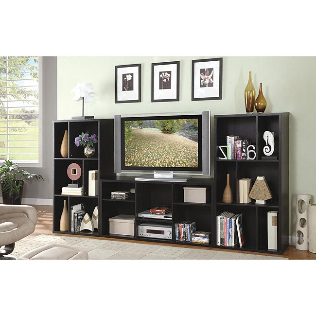 Black Plasma LCD TV Stand Entertainment Console With Shelves