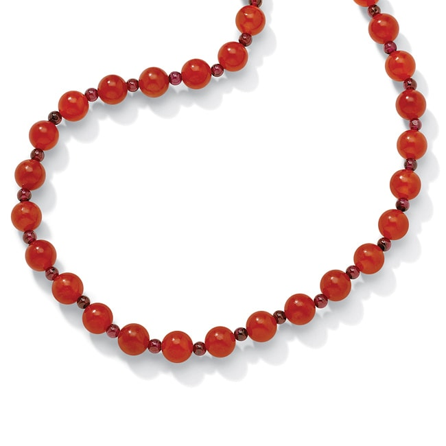 Angelina D'Andrea Red Jade 24-inch Beaded Necklace