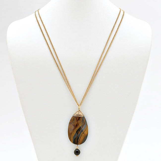 Angelina D'Andrea Gold Overlay Faceted Tiger's Eye Necklace