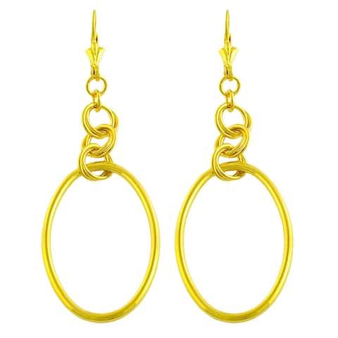 GoldKist 18k Gold over Silver Oval Dangle Earrings