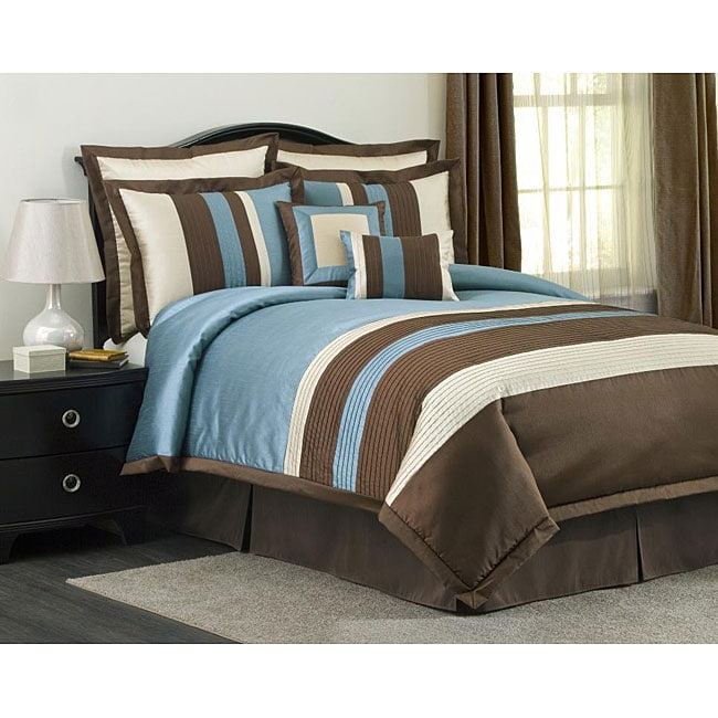 Blue And Brown Bedroom Set lush decor blue/ brown modern stripe 8-piece comforter set - free