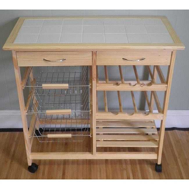 Birch Wood White Tile Top Rolling Kitchen Cart