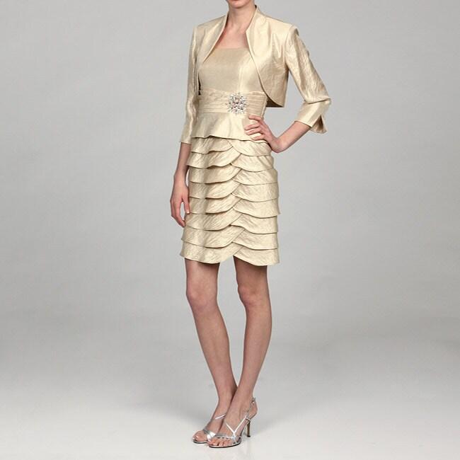 Jessica Howard Women's Champagne Bolero Jacket 2-piece Dress