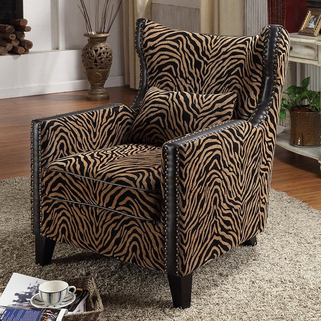 Tiger Chenille Nail Head Accent Chair Free Shipping