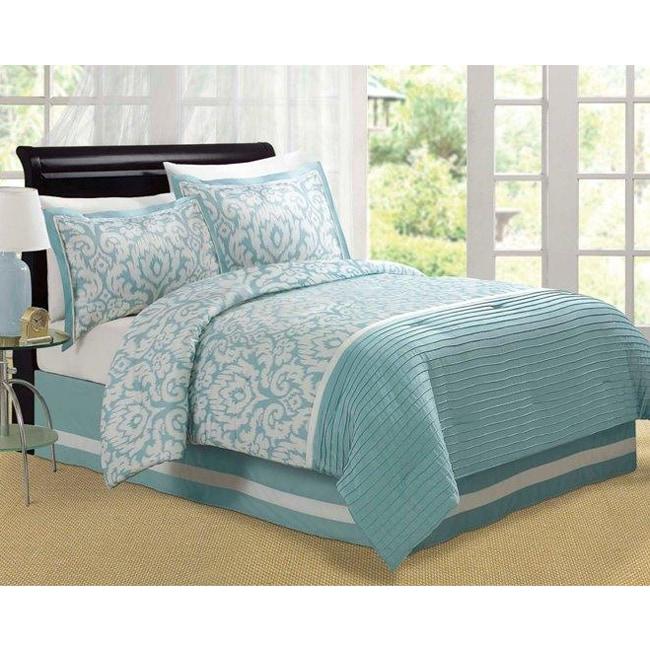 Jasmine Aqua Queen-size Comforter Set