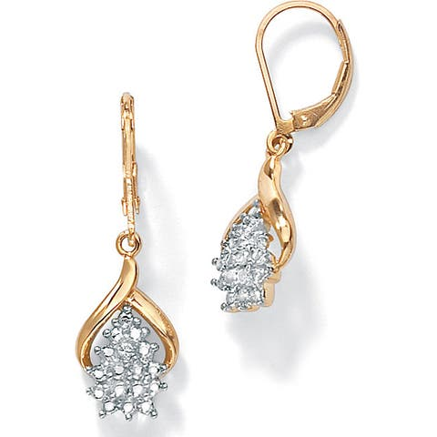 Gold over Sterling Silver Cluster Drop Earrings, Diamond Accent