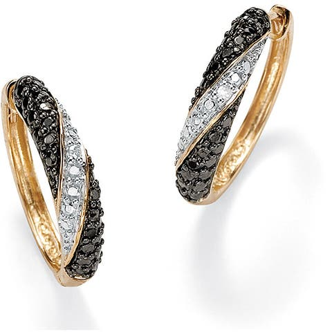 Gold over Sterling Silver Hoop Earrings White & Black Diamond Accent