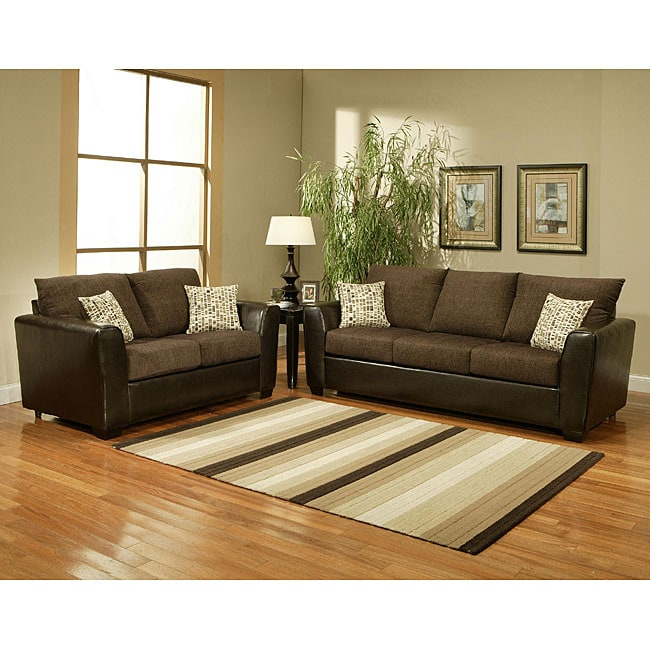 Furniture of America Porta Chenille Chocolate 2-piece Sofa Set