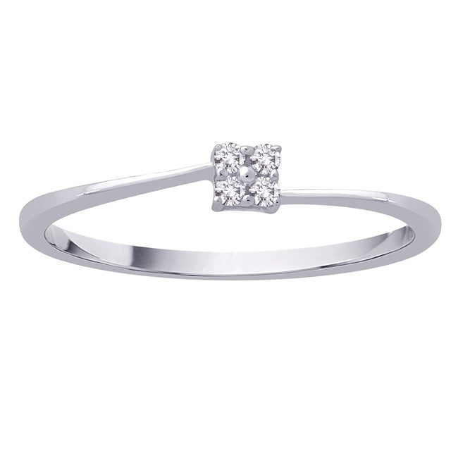 Size 7 10k White Gold 0.05ct TDW Diamond Fashion Ring (G-H, I2-I3)