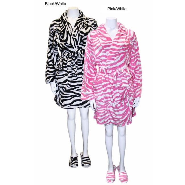 Women's Zebra Short Robe with Matching Slippers Set - Thumbnail 0