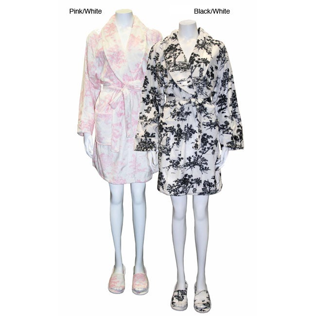 Women's Toile Short Robe with Matching Slippers Set