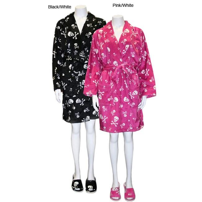 Women's Skulls Short Robe with Matching Slippers Set