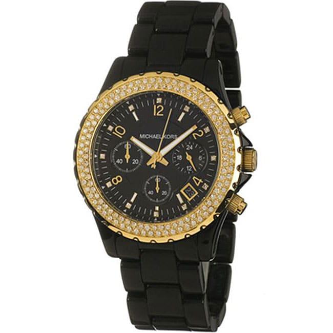 michael kors women 39 s mk5301 black acetate bracelet watch. Black Bedroom Furniture Sets. Home Design Ideas