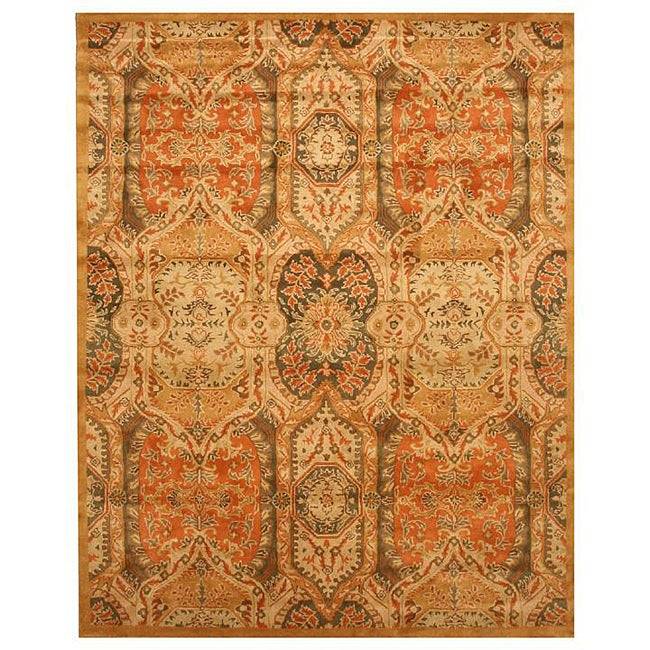 Hand-tufted Wool Gold Transitional Oriental Piazza Rug (8'9 x 11'9)