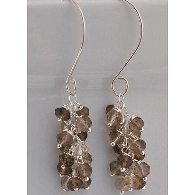 Sterling Silver Smoky Quartz Cascade Earrings