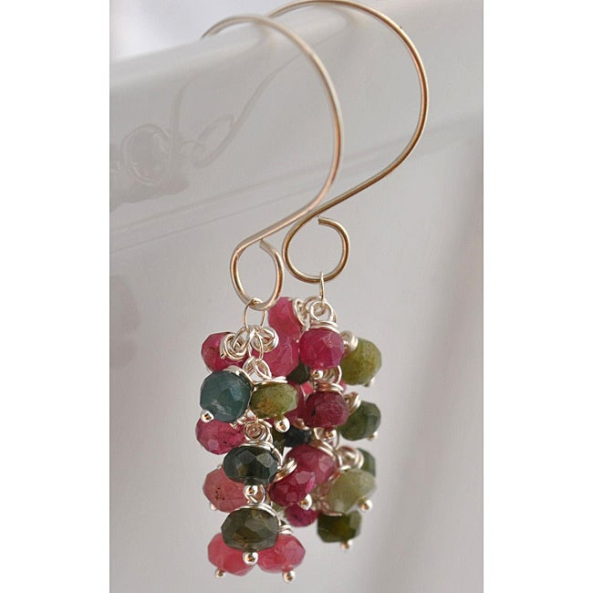 Sterling Silver Tourmaline Cascade Earrings