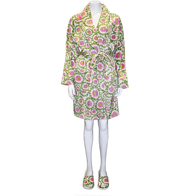 Women's Sprouts Short Robe with Matching Slippers Set