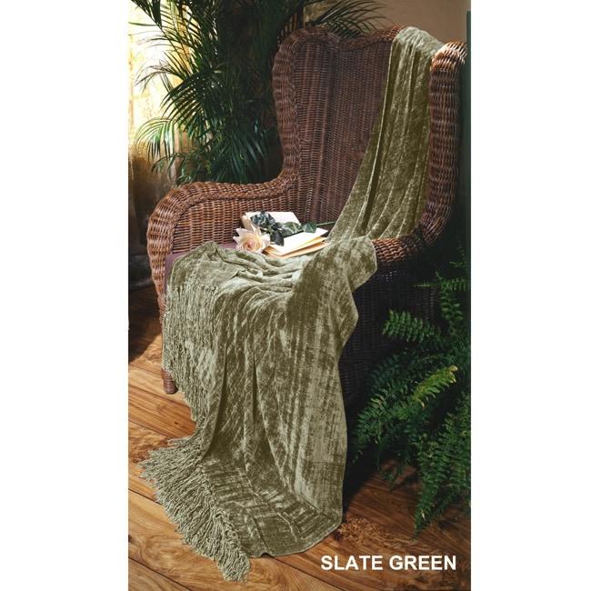 Slate Green Illumina Chenille Throw
