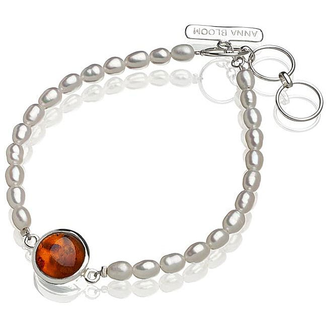 Sterling Silver Amber and FW Pearl Bracelet (4.5 mm) (USA)