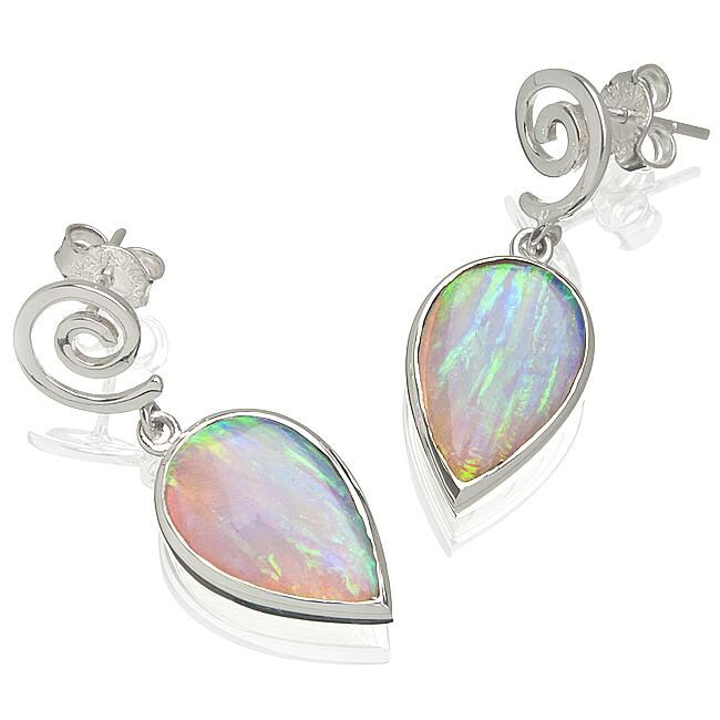 Sterling Silver Created White Opal Spiral Earrings