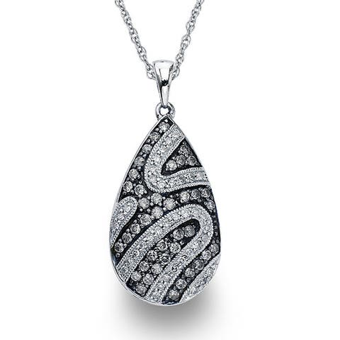 SilverMist Sterling Silver 3/4ct TDW Grey and White Diamond Necklace By Ever One