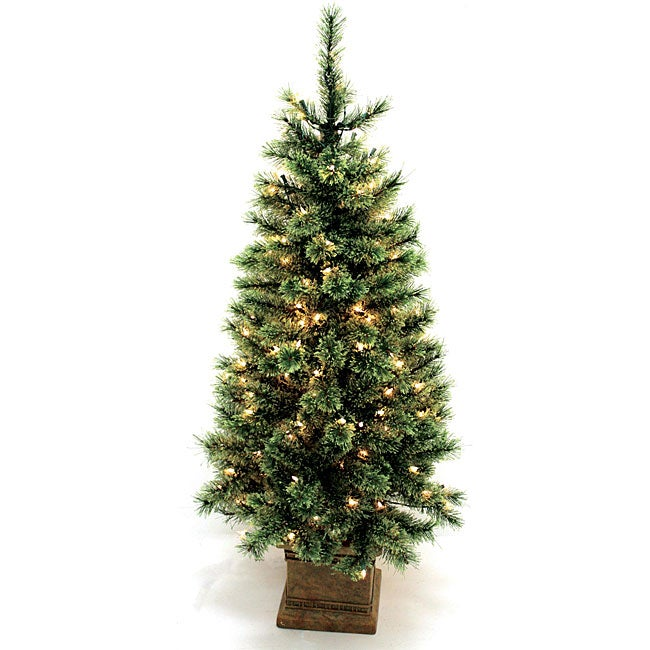 Good Tidings 4.5-feet Cashmere Artificial Prelit Christmas Tree ...