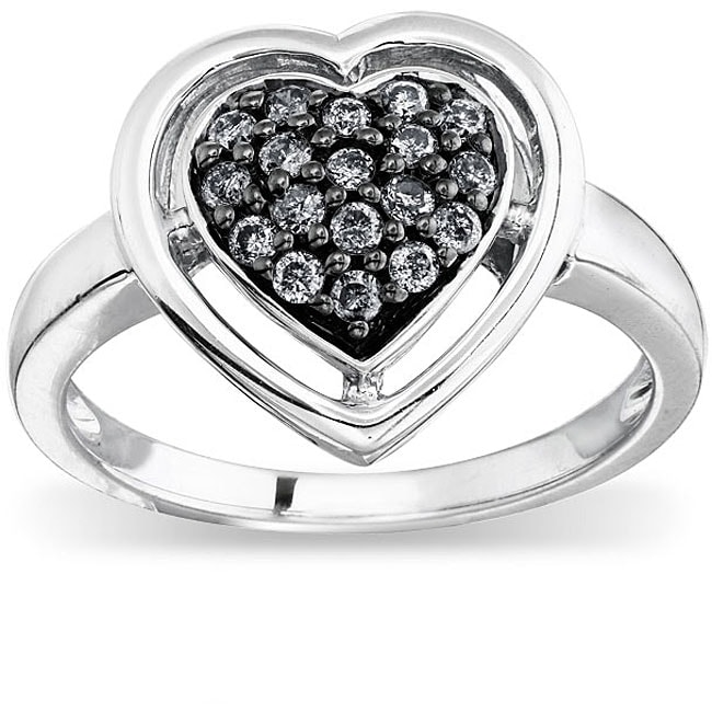 SilverMist Sterling Silver 1/4ct TDW Grey Diamond Heart Ring   By Ever One (size 7)