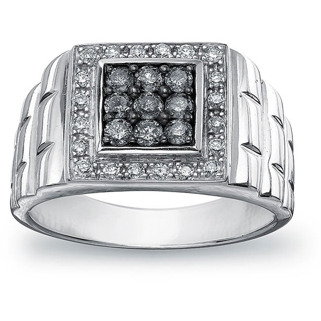 SilverMist Sterling Silver Men's 3/4ct TDW Natural Grey and White Diamond Ring  By Ever One (H-I, I1-I2)