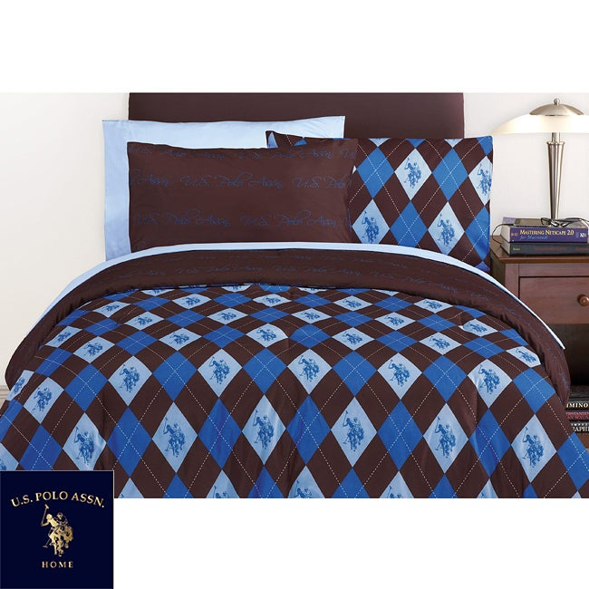 US Polo Association Argyle Full-size Bed in a Bag and Sheet Set