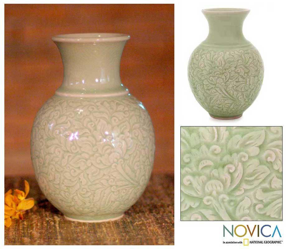 Handmade Celadon Ceramic 'Jade Landscape' Vase (Thailand)