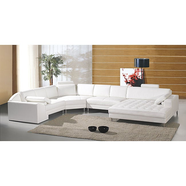 Vacaville 4 Piece Leather Sectional Set