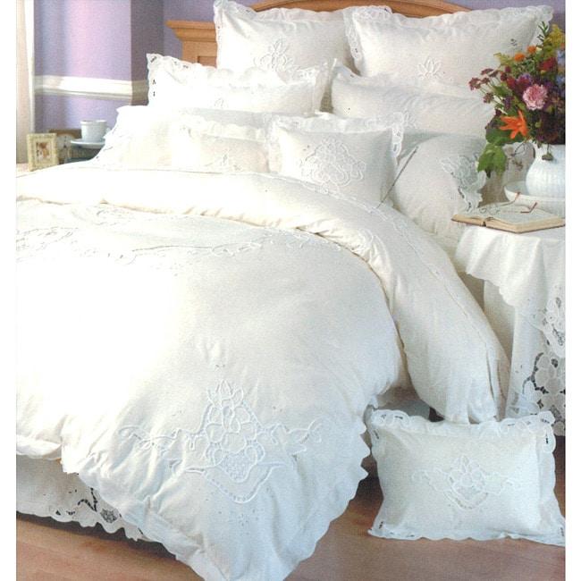 Embroidered Ecru/ White Queen-size Mini Duvet Cover Set