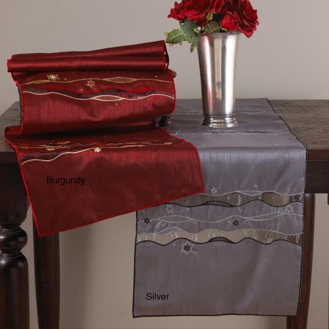 Embroidered Silk Optic and Organza Oblong Table Runner 16 in. x72 in.
