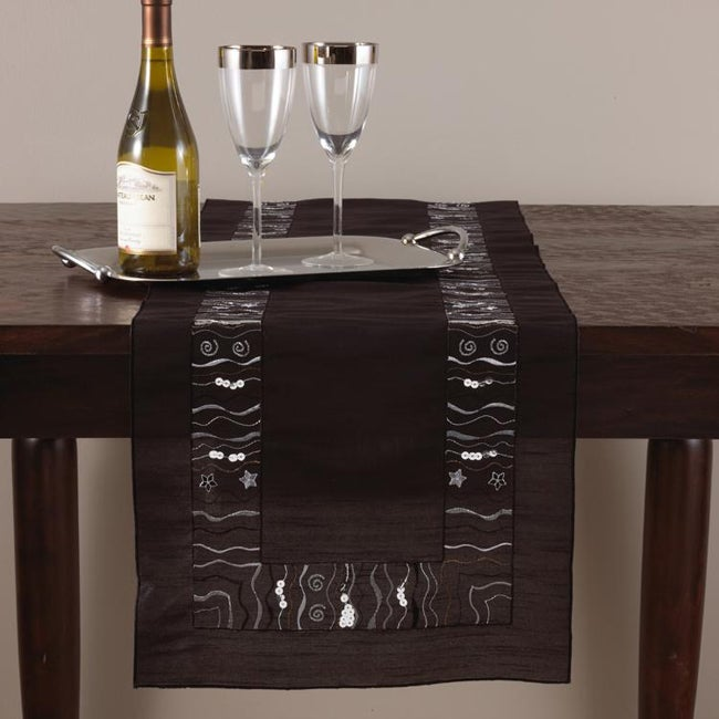 Embroidered and Sequined 72-inch Black Oblong Table Runner