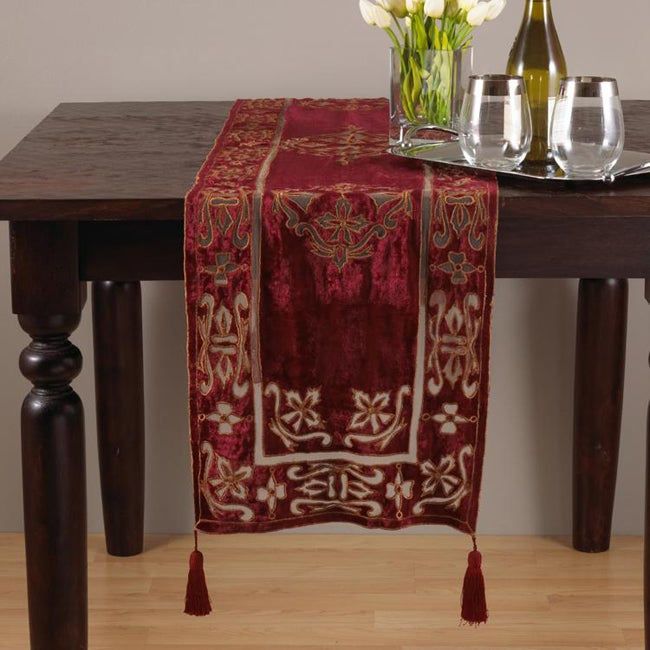 Exceptional Burgundy Cut Work Velvet 16x72 Inch Table Runner