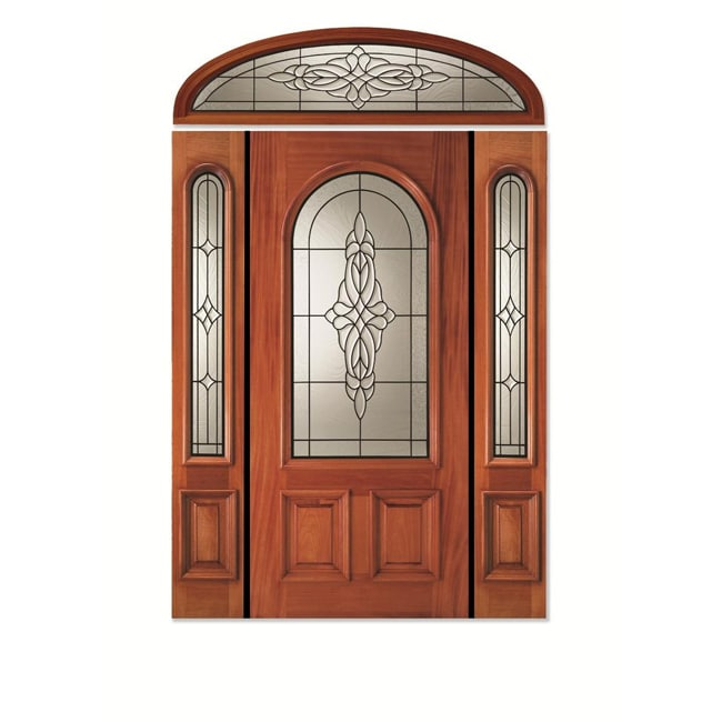 Conception White Mahogany Pre-hung Door Unit with Arch Glass and Two Sidelights and Elliptical ...
