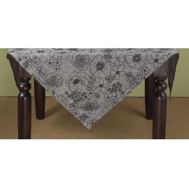 Grey Floral 54-inch Square Tablecloth