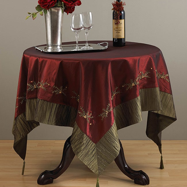 Embroidered burgundy 60x60 square tablecloth free for Table 60x60 design