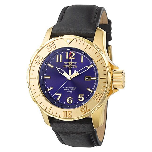 Invicta Men's Pro Diver Blue Dial Black Leather GMT Watch