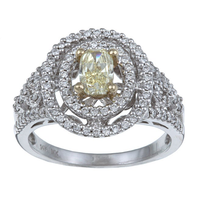 14k Two-tone Gold 7/8ct TDW Yellow Diamond Ring (H-I, SI1) Certified