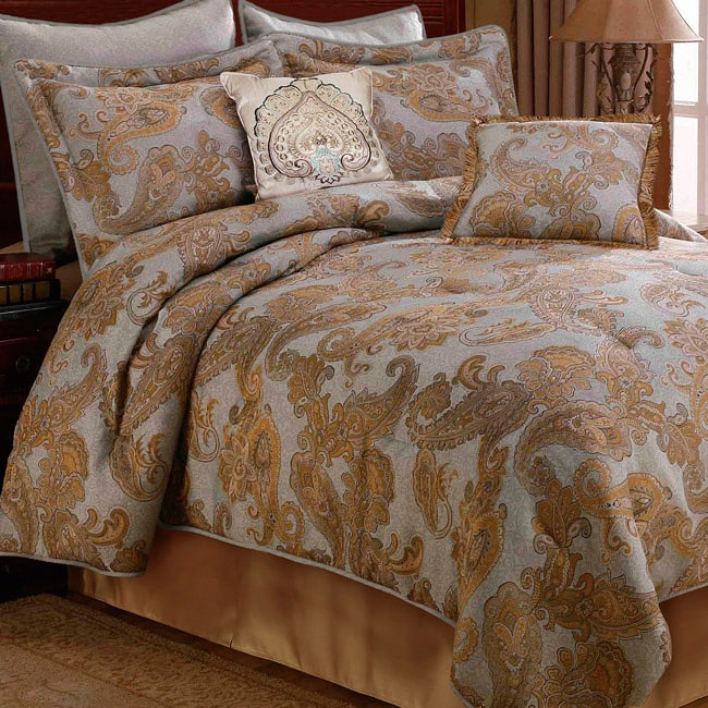 corinne blue gold ivory full size comforter set free shipping today 13203816. Black Bedroom Furniture Sets. Home Design Ideas