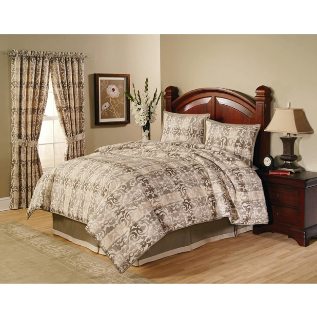 Harden Taupe/ Tan Plaid Queen-size Comforter Set