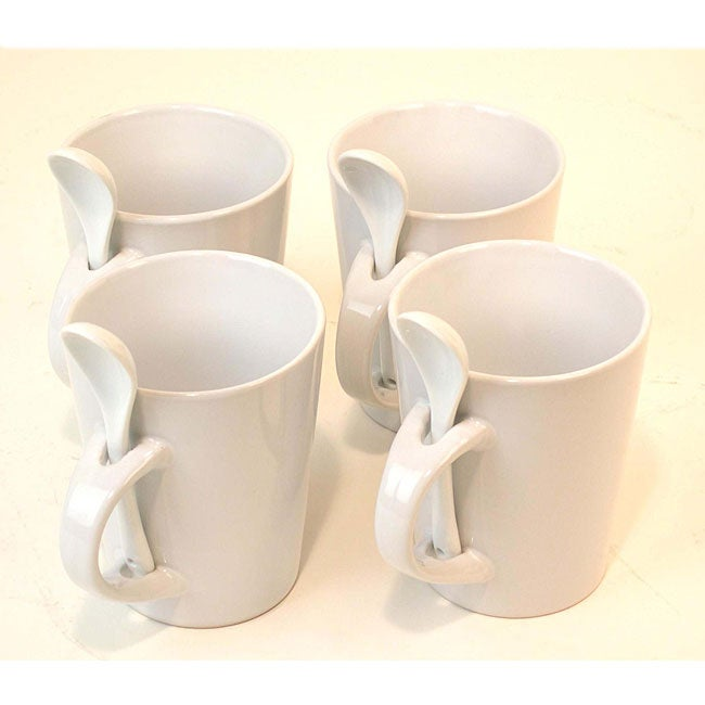 White Porcelain Spoon Coffee Mug Set (Pack of 4)