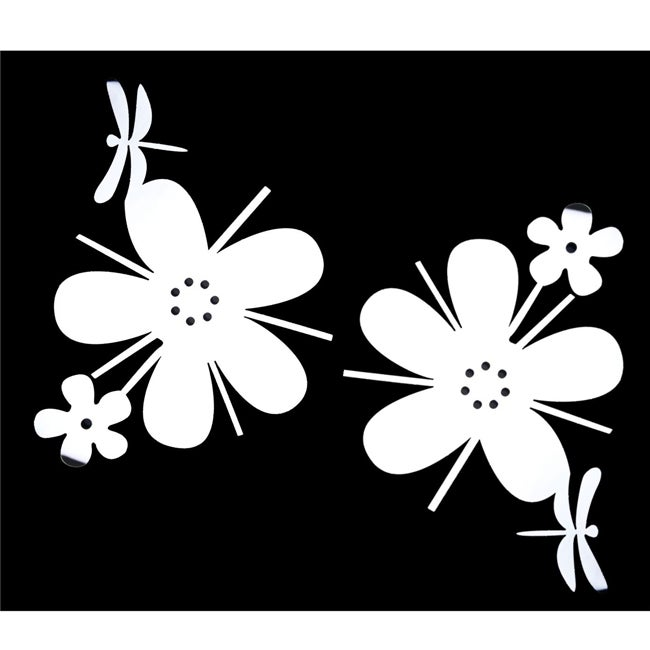 Flower/ Dragonfly Self Adhesive Acrylic Mirror Wall Decorations (Set of 2)