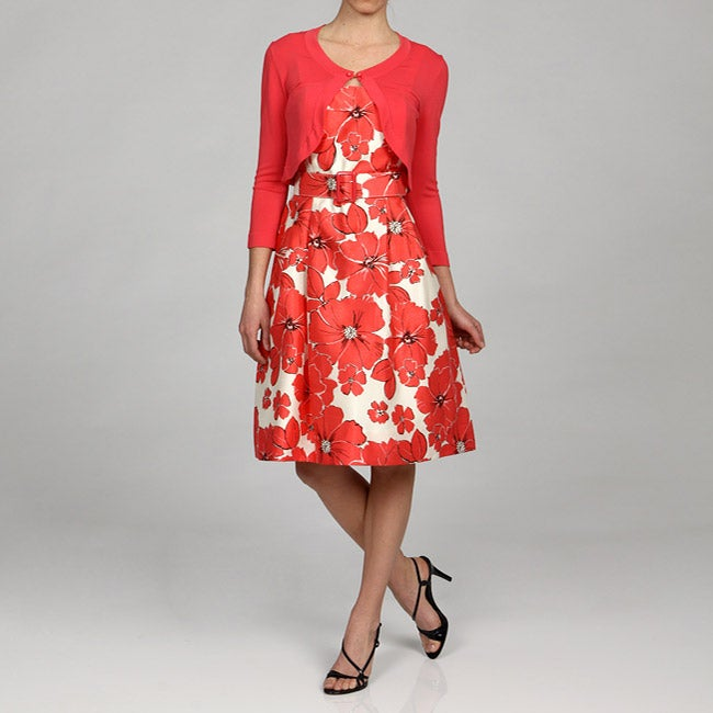 Jessica Howard Womens Floral Party Dress with Sweater