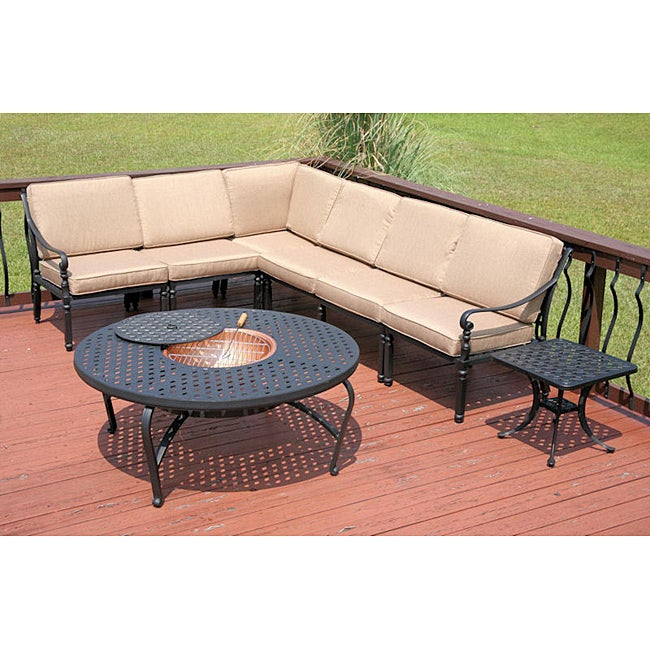 Outdoor Patio Furniture Savannah Ga: Shop Savannah Outdoor Black Sectional Patio Set